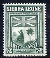 Sierra Leone 1933 KG5 Wilberforce & Abolition of Slavery 1/2d green unmounted mint SG 168, stamps on arms, stamps on heraldry, stamps on slavery, stamps on flags, stamps on  kg5 , stamps on