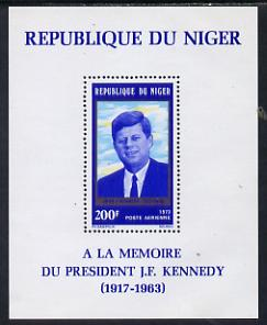 Niger Republic 1973 Tenth Death Anniversary of John Kennedy perf m/sheet unmounted mint. Note this item is privately produced and is offered purely on its thematic appeal SG MS 512