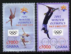 Ghana 2002 Salt Lake City Winter Olympic Games perf set of 2 unmounted mint SG 3333-34