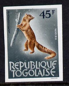 Togo 1964 Palm Civet 45c imperf from limited printing unmounted mint as SG 358