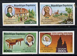 Togo 1977 150th Death Anniversary of Beethoven set of 4 imperf from limited printing unmounted mint as SG 1195-8