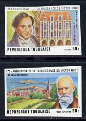 Togo 1977 175th Birth Anniversary of Victor Hugo set if 2 imperf from limited printing unmounted mint as SG 1192-3