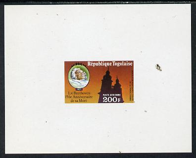Togo 1977 150th Death Anniversary of Beethoven 200f individual imperf deluxe sheet unmounted mint as SG 1198
