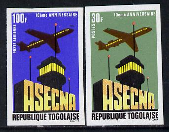 Togo 1971 Tenth Anniversary of ASECNA (Aerial Navigation Security) set of 2 imperf from limited printing unmounted mint as SG 817-8