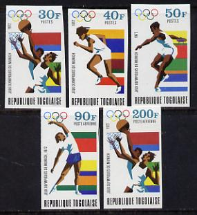 Togo 1972 Olympic Games, Munich set of 5 imperf from limited printing unmounted mint as SG 887-91