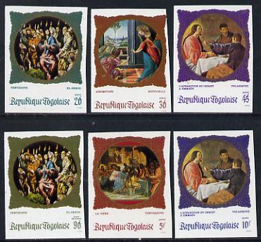 Togo 1969 Religious Paintings set of 6 imperf from limited printing unmounted mint as SG 651-6