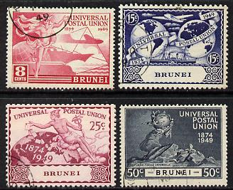 Brunei 1949 KG6 75th Anniversary of Universal Postal Union set of 4 cds used, SG96-99