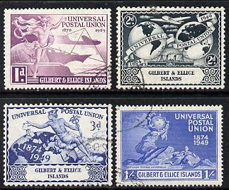 Gilbert & Ellice Islands 1949 KG6 75th Anniversary of Universal Postal Union set of 4 cds used SG59-62