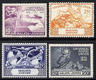 Malaya - Johore 1949 KG6 75th Anniversary of Universal Postal Union set of 4 unmounted mint, SG 148-51