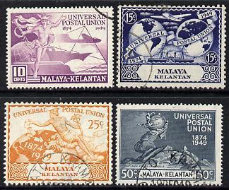 Malaya - Kelantan 1949 KG6 75th Anniversary of Universal Postal Union set of 4 cds used SG 57-60