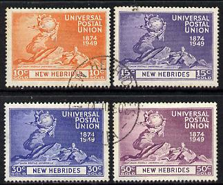 New Hebrides - English 1949 KG6 75th Anniversary of Universal Postal Union set of 4 cds used SG 64-67