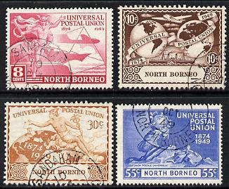 North Borneo 1949 KG6 75th Anniversary of Universal Postal Union set of 4 cds used, SG 352-55