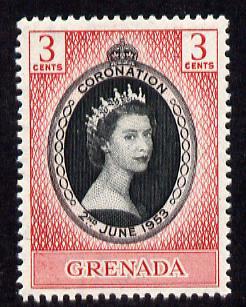 Grenada 1953 Coronation 3c unmounted mint SG 191