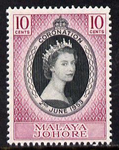 Malaya - Johore 1953 Coronation 10c unmounted mint SG 152