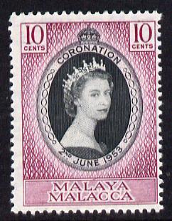 Malaya - Malacca 1953 Coronation 10c unmounted mint SG 22