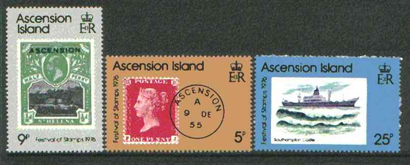 Ascension 1976 Festival of Stamps set of 3 unmounted mint, SG 215-17*