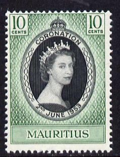Mauritius 1953 Coronation 10c unmounted mint SG 291