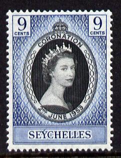 Seychelles 1953 Coronation 9c unmounted mint SG 173
