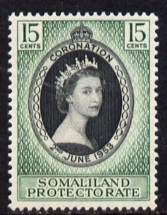 Somaliland 1953 Coronation 15c unmounted mint SG 136