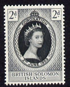 Solomon Islands 1953 Coronation 2d unmounted mint SG 81, stamps on , stamps on  stamps on coronation, stamps on  stamps on royalty