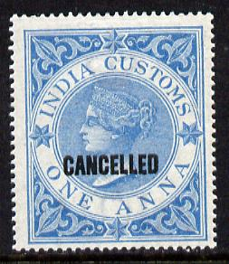 India 1860 QV Customs 1a blue opt'd CANCELLED unmounted mint