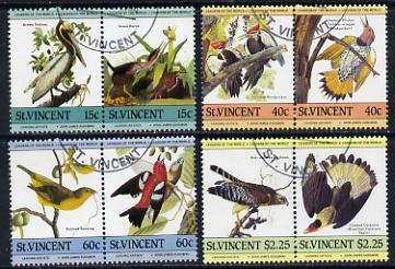 St Vincent 1985 John Audubon Birds (Leaders of the World) set of 8 cds used SG 854-61