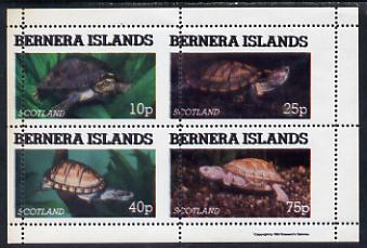 Bernera 1981 Turtles perf set of 4 values (10p to 75p) with vertical perfs misplaced 5 mm unmounted mint