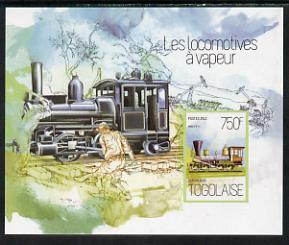 Togo 2013 Locomotives - Atlas 0-8-8 imperf deluxe sheet unmounted mint. Note this item is privately produced and is offered purely on its thematic appeal, stamps on railways