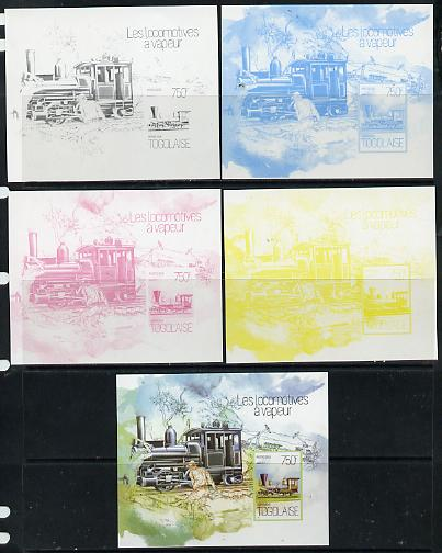 Togo 2013 Locomotives - Atlas 0-8-8 deluxe sheet - the set of 5 imperf progressive proofs comprising the 4 individual colours plus all 4-colour composite, unmounted mint