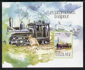 Togo 2013 Locomotives - Alder 2-2-2 imperf deluxe sheet unmounted mint. Note this item is privately produced and is offered purely on its thematic appeal