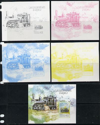 Togo 2013 Locomotives - Farle 0-4-4-0 deluxe sheet - the set of 5 imperf progressive proofs comprising the 4 individual colours plus all 4-colour composite, unmounted mint