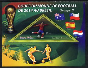 Madagascar 2014 Football World Cup in Brazil - Group B perf triangular shaped souvenir sheet unmounted mint