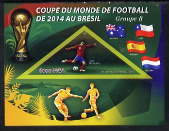 Madagascar 2014 Football World Cup in Brazil - Group B imperf triangular shaped souvenir sheet unmounted mint