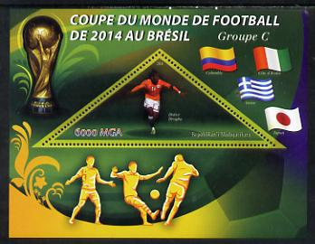 Madagascar 2014 Football World Cup in Brazil - Group C perf triangular shaped souvenir sheet unmounted mint