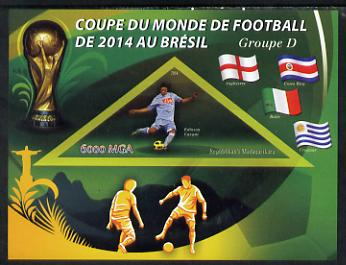 Madagascar 2014 Football World Cup in Brazil - Group D imperf triangular shaped souvenir sheet unmounted mint