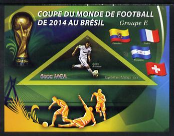 Madagascar 2014 Football World Cup in Brazil - Group E imperf triangular shaped souvenir sheet unmounted mint