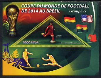 Madagascar 2014 Football World Cup in Brazil - Group G perf triangular shaped souvenir sheet unmounted mint