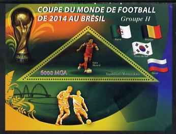 Madagascar 2014 Football World Cup in Brazil - Group H perf triangular shaped souvenir sheet unmounted mint