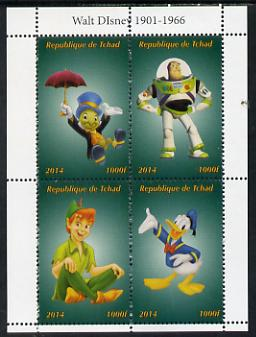 Chad 2014 Disney Characters #1 perf sheetlet containing 4 values unmounted mint. Note this item is privately produced and is offered purely on its thematic appeal. .
