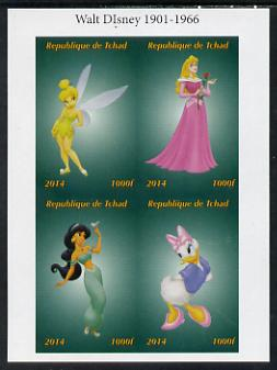Chad 2014 Disney Characters #2 imperf sheetlet containing 4 values unmounted mint. Note this item is privately produced and is offered purely on its thematic appeal. .