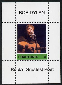 Chartonia (Fantasy) Bob Dylan - Rock's Greatest Poet #3 perf deluxe sheet on thin glossy card unmounted mint