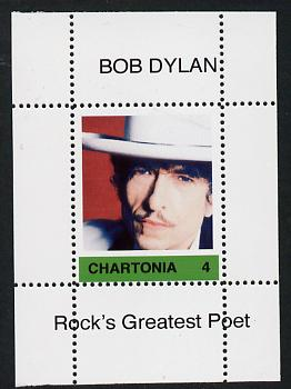 Chartonia (Fantasy) Bob Dylan - Rock's Greatest Poet #4 perf deluxe sheet on thin glossy card unmounted mint