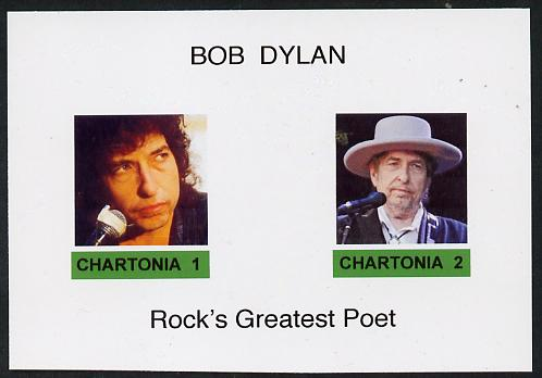 Chartonia (Fantasy) Bob Dylan - Rock's Greatest Poet imperf deluxe sheet on glossy card unmounted mint