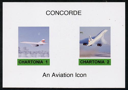 Chartonia (Fantasy) Concorde - An Aviation Icon imperf deluxe sheet on glossy card unmounted mint
