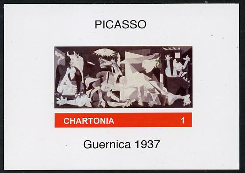 Chartonia (Fantasy) Guernica (1937) by Picasso imperf deluxe sheet on glossy card unmounted mint