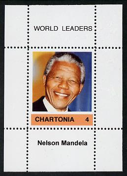 Chartonia (Fantasy) World Leaders - Nelson Mandela perf deluxe sheet on thin glossy card unmounted mint