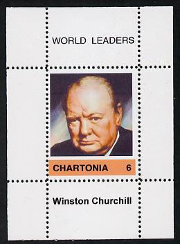 Chartonia (Fantasy) World Leaders - Winston Churchill perf deluxe sheet on thin glossy card unmounted mint