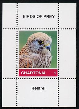 Chartonia (Fantasy) Birds of Prey - Kestrel perf deluxe sheet on thin glossy card unmounted mint
