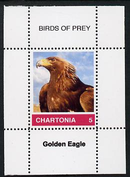 Chartonia (Fantasy) Birds of Prey - Golden Eagle perf deluxe sheet on thin glossy card unmounted mint