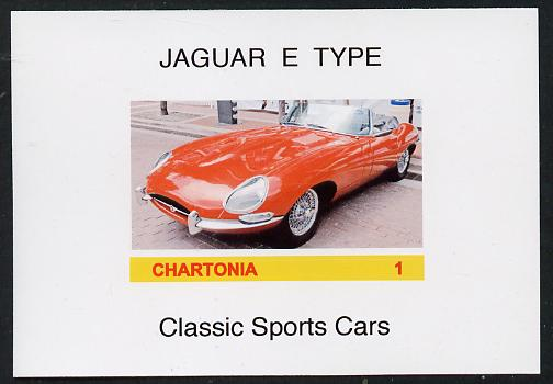 Chartonia (Fantasy) Classic Sports cars - Jaguar E Type imperf deluxe sheet on glossy card unmounted mint